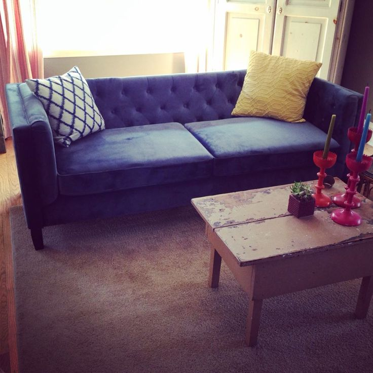 Love Our New Blue Velvet Tufted Sofa From Cost Plus World