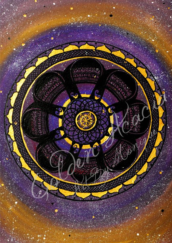 Galaxy Mandala: Sacred geometry acrylic and Ink Painting in vivid purple, gold. Representing universal energies, space, stars, asteroids on Etsy, $25.00 AUD