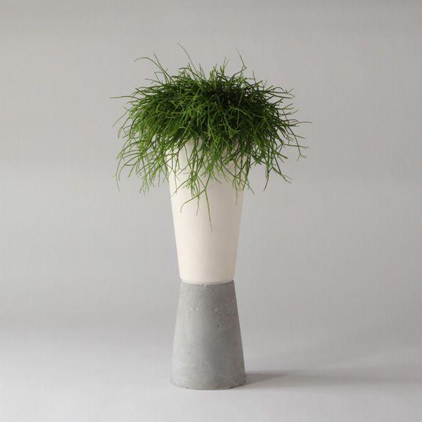 SC10 CERAMIC + CONCRETE VASE + POT ↔12.0cm↑39.0cm 19.99€ retail price + VAT White matte ceramic + grey matte concrete vase + pot. High quality handmade objects Designed+Made by Decovery | Essential Details. EU delivery.