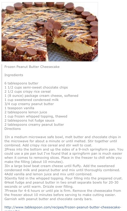 Frozen Peanut Butter Cheesecake..... will use ground almonds instead ...