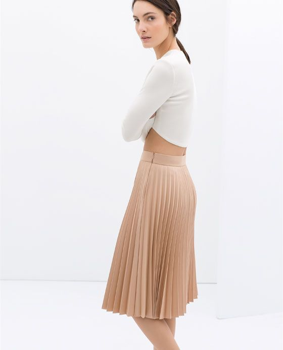 Image 2 of COATED PLEATED SKIRT from Zara