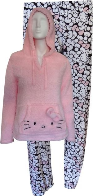 Hello Kitty Pink Hooded Sherpa Lounger Pajamas