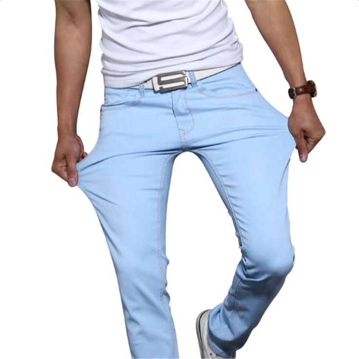 Men Jeans Solid Colors Mid Cowboy Tight Pants Men Elastic Casual Straight Jeans Skinny Stretch Blue Jeans Trousers