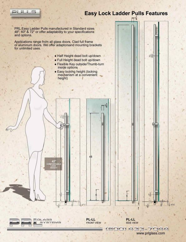 prl glass and aluminum toll free easy lock ladder pulls gallery the easylock pull system the lock is a strong design for