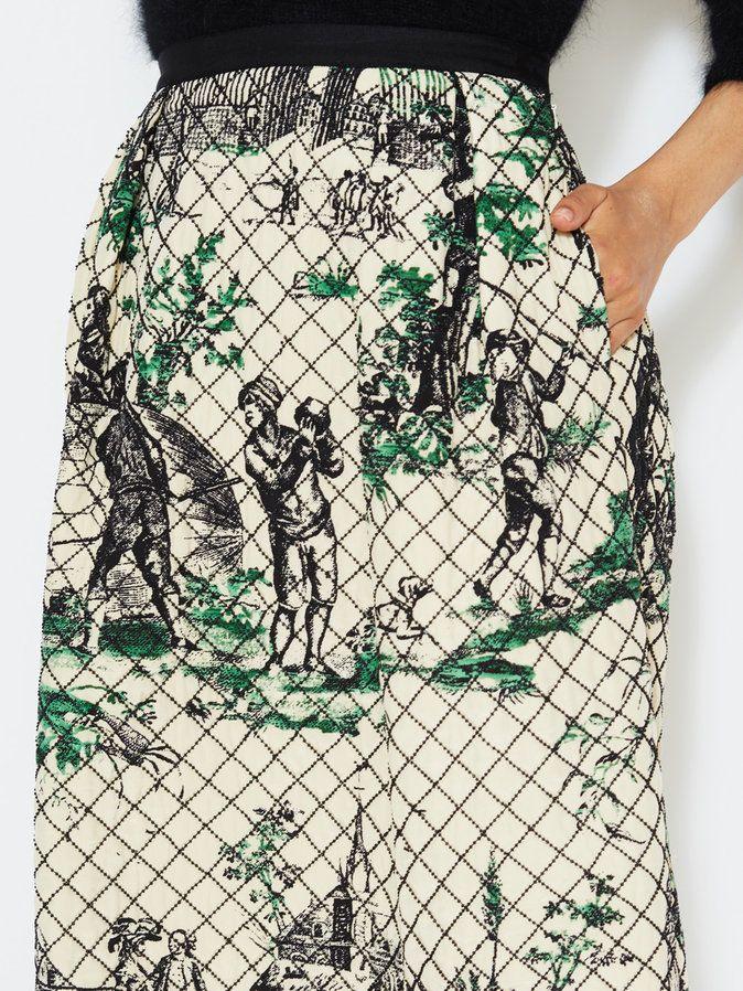 Balloon Toile Silk Quilted Skirt by Oscar de la Renta