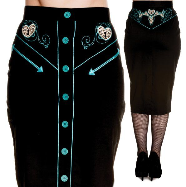 Locked Heart Skirt (black and red)