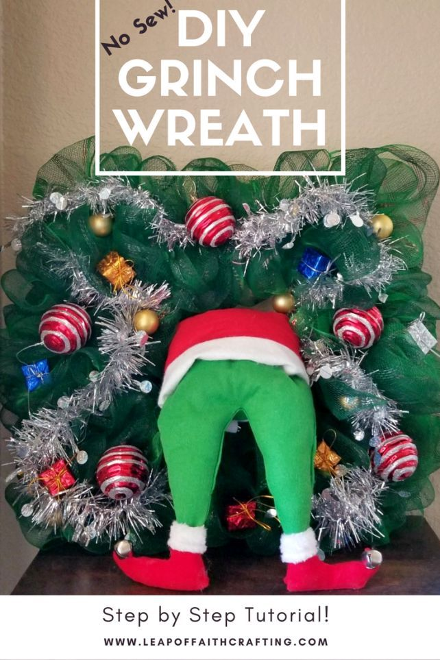 No Sew Diy Wreath With Mr Grinch Make A Cute Christmas Wreath Out Of Dollar Store Supplies Grinch Wreath Grinch Christmas Decorations Christmas Wreaths Diy