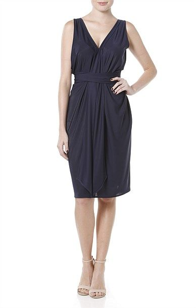 Column drape reversible dress from Sacha Drake $AUD229.  Purchased in Navy. Useful piece as can be worn with or without belt and as it's name implies is reversible.  Justifies the price tag.