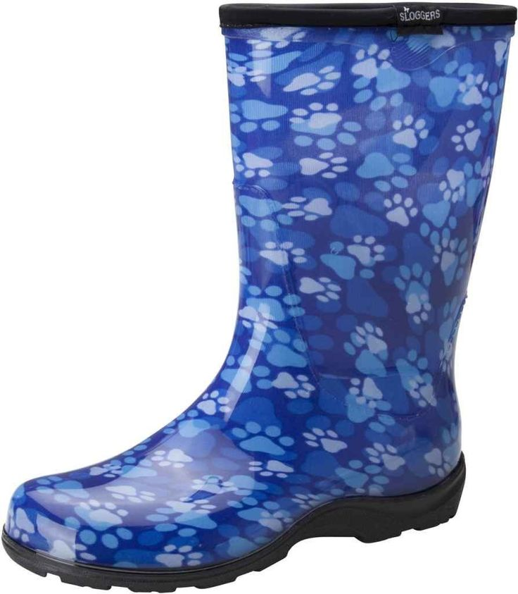 Sloggers Women's Plastic Boot, Blue Paw Print, Size 9 ** Additional details at the pin image, click it  : Rain boots