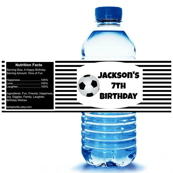 SALE- DIY Printable Soccer Party Water Bottle Label - Soccer Party Supplies - Soccer Party Favors - Soccer Birthday - FREE Personalization
