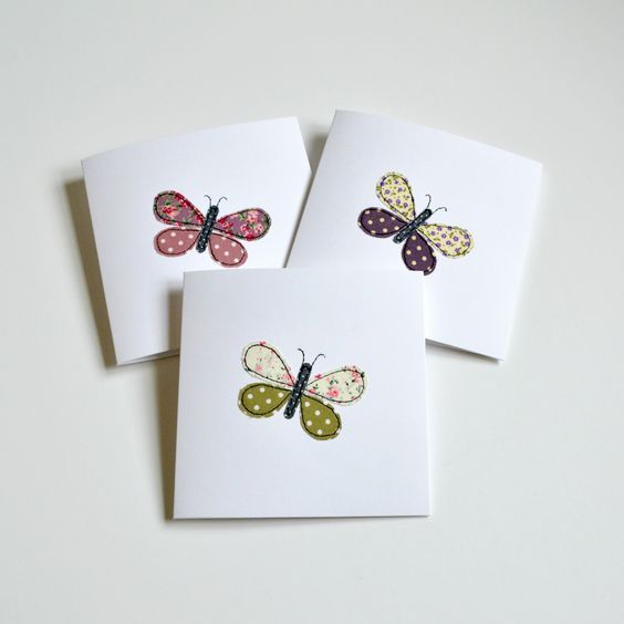 Butterfly greetings cards, little pieces of fabric stitched using freehand machine embroidery handmade by Stitch Galore
