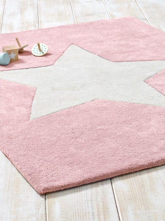 Teppich Stern Baumwolle Hellgrau Rosa