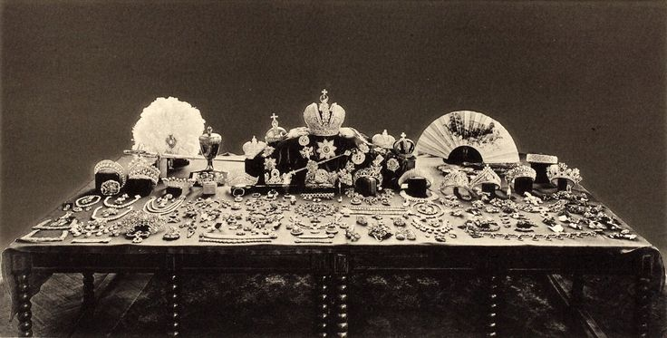 After the 1917 revolution, Russia's new rulers debated what to do with the crown jewels. This 1925 photo shows the collection. However, a 19...