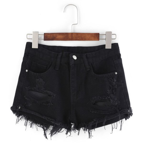 SheIn(sheinside) Frayed Black Denim Shorts (£13) found on Polyvore featuring women's fashion, shorts, bottoms, pants, shein, short, black, short jean shorts, button fly shorts and jean shorts