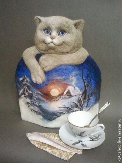 """Котогрелка войлочная """"Снежный, нежный..."""" - грелка на чайник,украшение интерьера"""