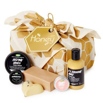 Honey Gift: Make life a little sweeter for someone special with this thoughtful gift full of luscious honey products, wrapped up with a lovely organic cotton Knot-Wrap.