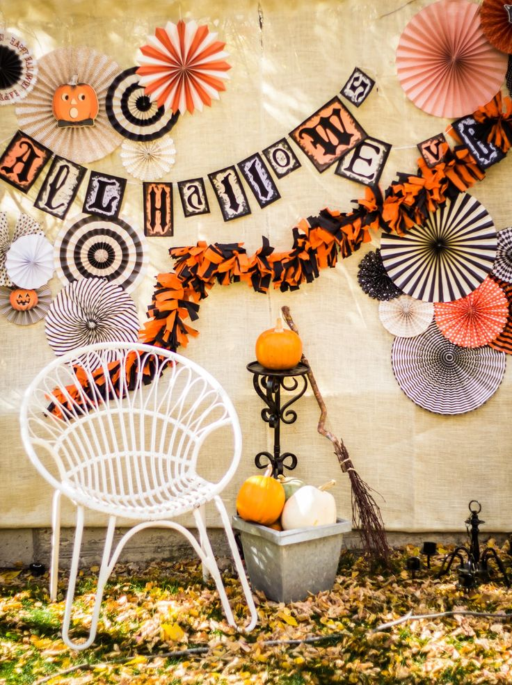 Vintage Halloween Party photo booth backdrop pinwheels fans fall party