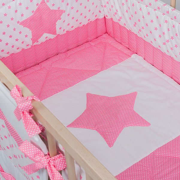 Crib bedding neutral Baby bed sets - Pink Stars handmade cotton nursery bedding - Cot bumper sheet caddy quilt by CotandCot on Etsy