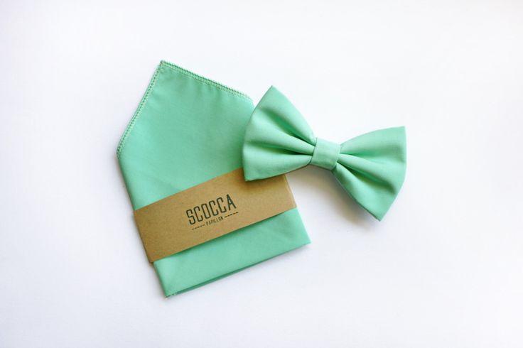 Papillon e fazzoletto per Uomo, verde menta in cotone, primavera estate,Cravatta Papillon pochette coordinato,regalo testimoni sposo,per lui di ScoccaPapillon su Etsy