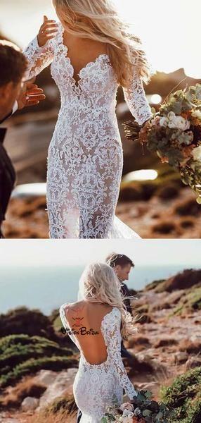 Sexy V-Neck Long Sleeve Long Lace Mermaid Wedding Dresses, Wedding Dresses, VB01483 Sexy V-Neck Long Sleeve Long Lace Mermaid Wedding Dresses, Wedding Dresses, VB01483 11