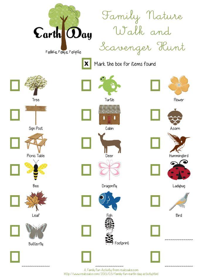 earth day nature walk scavenger guiding stuff pinterest. Black Bedroom Furniture Sets. Home Design Ideas