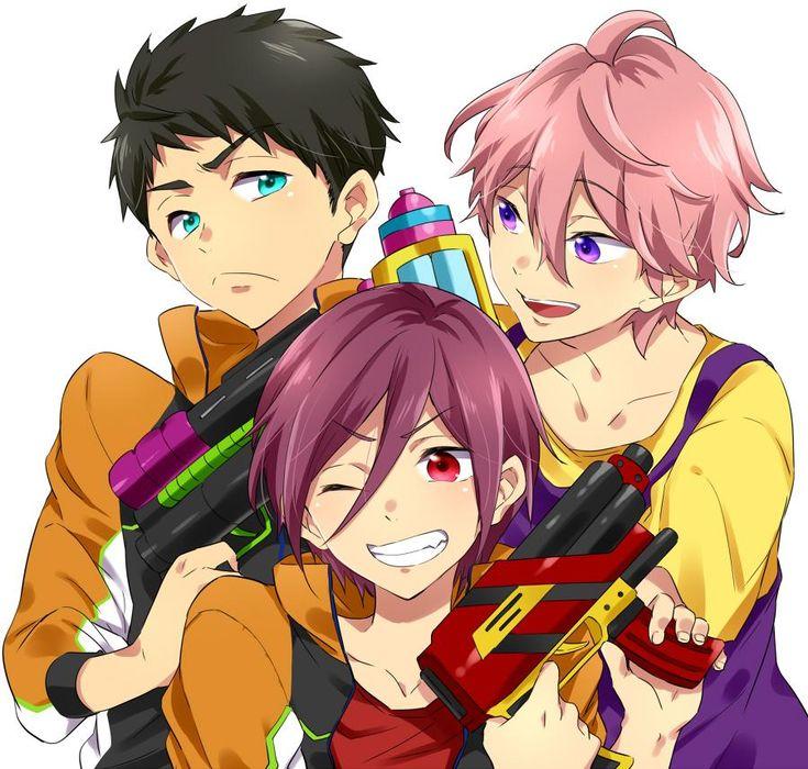 Sousuke & Kisumi & Rin | Free! Eternal Summer #anime「佐野小プチ申し込んだ!3人がおじさんと水鉄砲で遊ぶ不健全な本の予定」