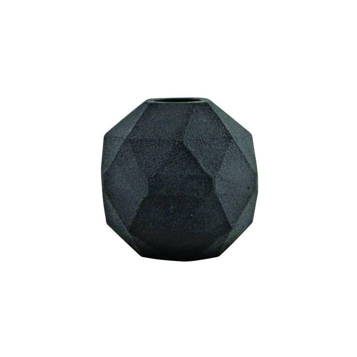 POTTEN EN VAZEN: Klein zwart vaasje in de vorm van een diamant