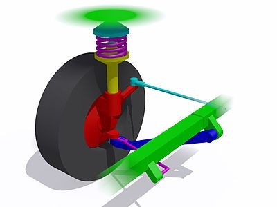 MacPherson strut  | A simple MacPherson strut suspension on the right front wheel of a rear-wheel drive vehicle. The front of the vehicle is at bottom left of the image. Red: Steering knuckle or hub carrier Blue: Lower control arm or track control arm Light blue: Steering gear tie rod or track rod Lower purple: Radius rod Upper purple: Coil spring Yellow: Tubular housing containing shock absorber or damper