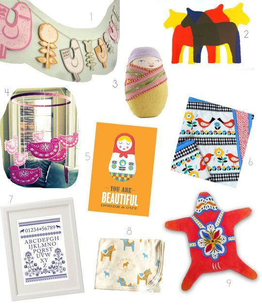 Scandinavian Folk Decor & Accents for the nursery or kids rooms.