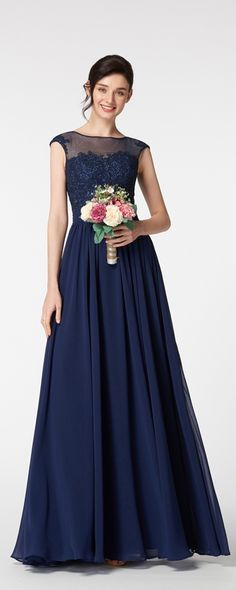 Navy blue bridesmaid dresses modest bridesmaid dress with cap sleeves lace bridesmaid gowns long