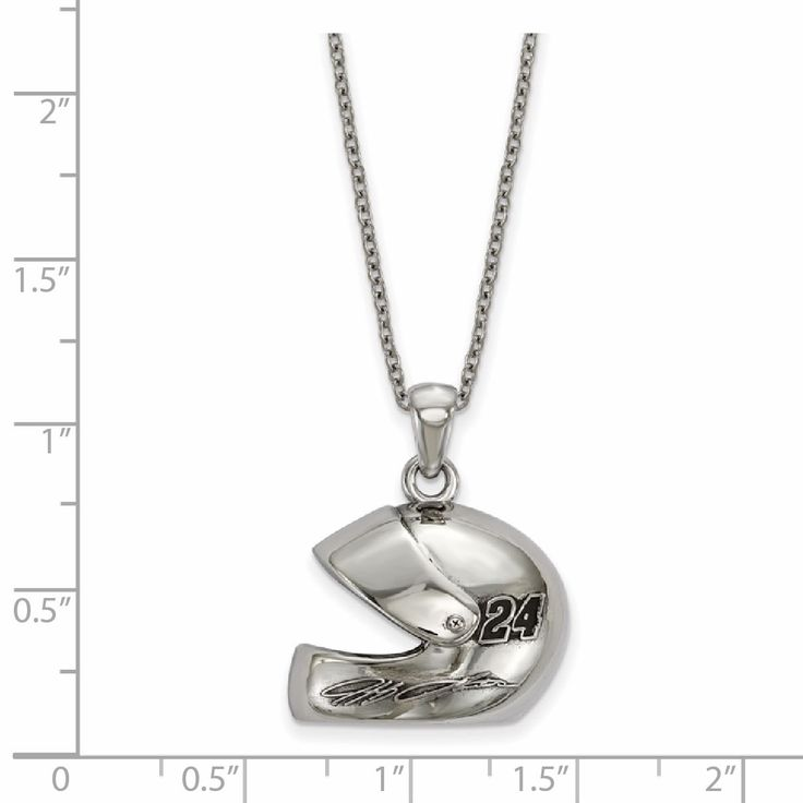 LogoArt Nascar Necklace Stainless Steel 3-D Driver Helmet With 24 And Signature With Chain