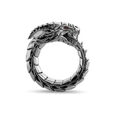 Solid sterling silver Dragon Band for men. Rethink men's rings with this unique sterling silver Dragon Men's Band