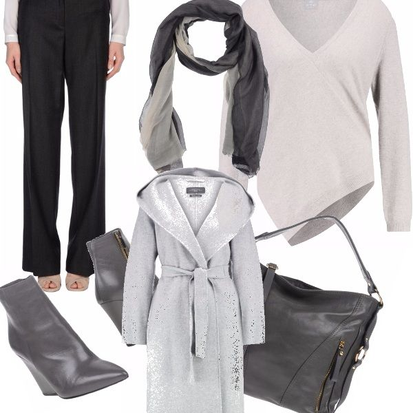 Outfit autunnale che utilizza tutte le sfumature del grigio, dall'antracite al perlato. Semplice e pratico, adatto a tante occasioni ed a tante taglie..