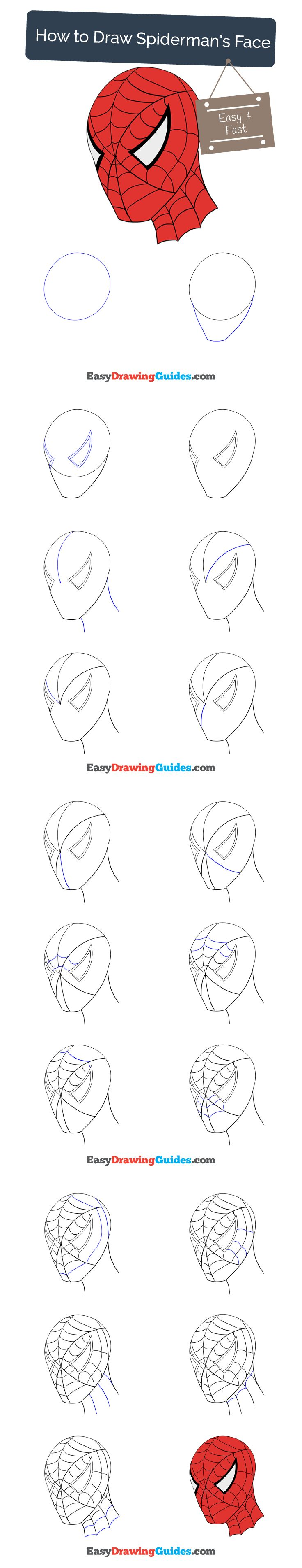 Learn How to Draw Spiderman's Face: Easy Step-by-Step Drawing Tutorial for Kids and Beginners. #spiderman #drawing. See the full tutorial at https://easydrawingguides.com/draw-spidermans-face/