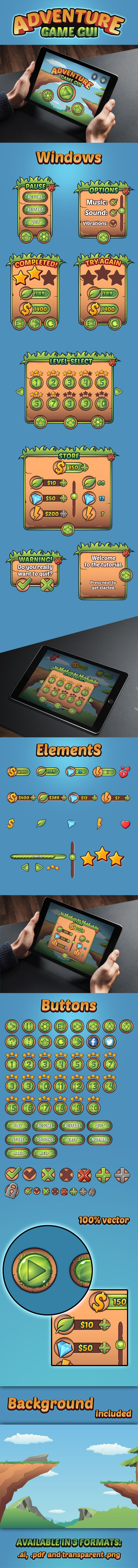 This is a complete pack of all the user interface elements you would want for your video game with a background included. All elements are 100% vector and layered  FOR SALE: http://graphicriver.net/item/adventure-game-gui/11051082
