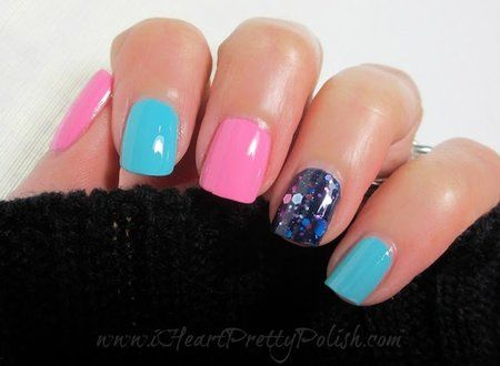 Skittles Mani!  ADORABLE!! #mani #skittlesmani #nails #essie #nailart #nailpolish