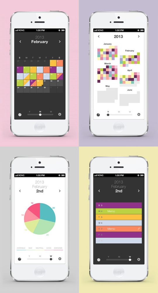 'Color Calendar' helps you record how you are feeling with your favorite colors  / iOS : https://itunes.apple.com/app/color-calendar/id605719635?mt=8 / Android : https://play.google.com/store/apps/details?id=kr.co.vcnc.android.colorcalendar