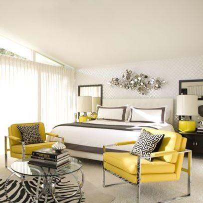 yellow and grey bedroom with zebra rug