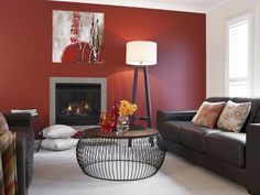 Lounge Room Red Feature Wall #SheerPassion #WhiteSwan #SeedPearl