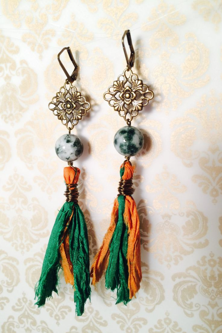 Tree Hugger Earrings of Tree Agate and Sari Silk on Gold Plated Brass by GemJelly on Etsy