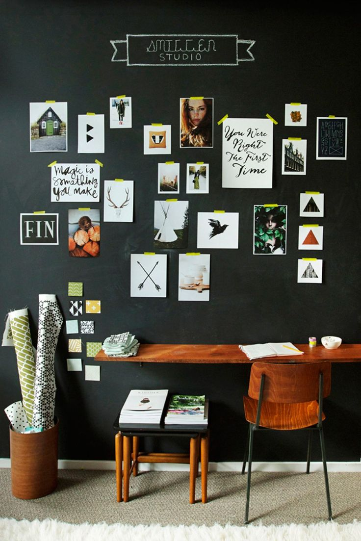 8 Ways To Embrace Dark Decor #refinery29  http://www.refinery29.uk/dark-colour-scheme-interior-design#slide-8  Top of the classNo ode to dark decor schemes would be complete without a nod to blackboard paint. Its super matt texture and association with school days bring a certain nostalgic charm to spaces, rather than the all-out glamour of emulsion or tiles. The best thing about it of course, is that you'll have free reign to doodle, write to-do lists, scribble ideas and pen memos...