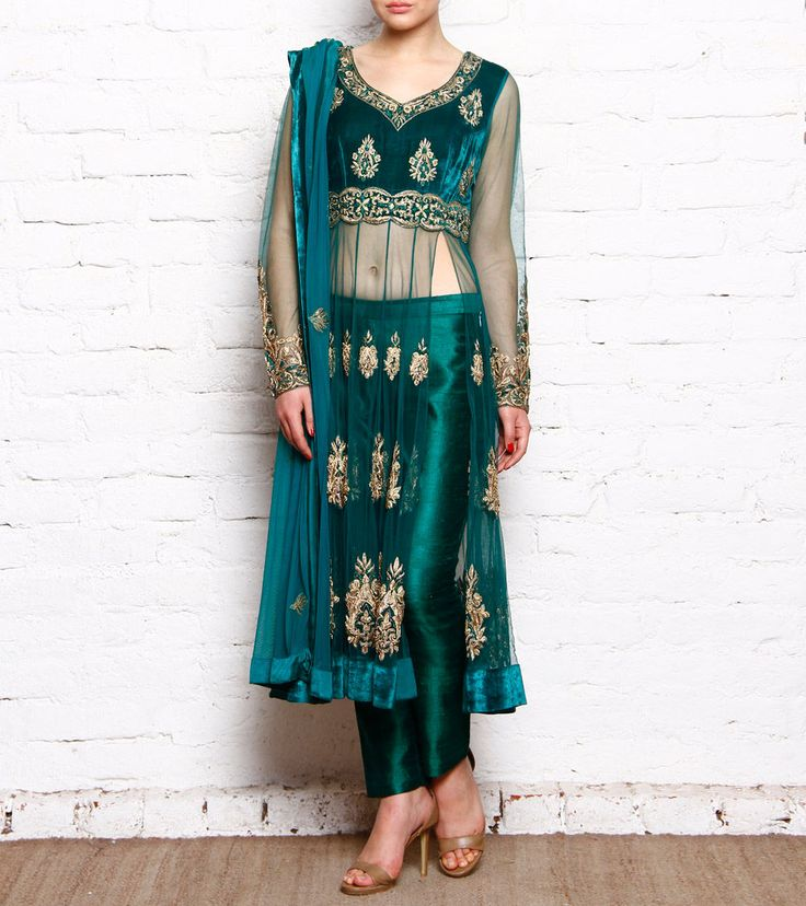 Green & Golden Embroidered Georgette #VelvetAnarkali With #Pants #Indianroots