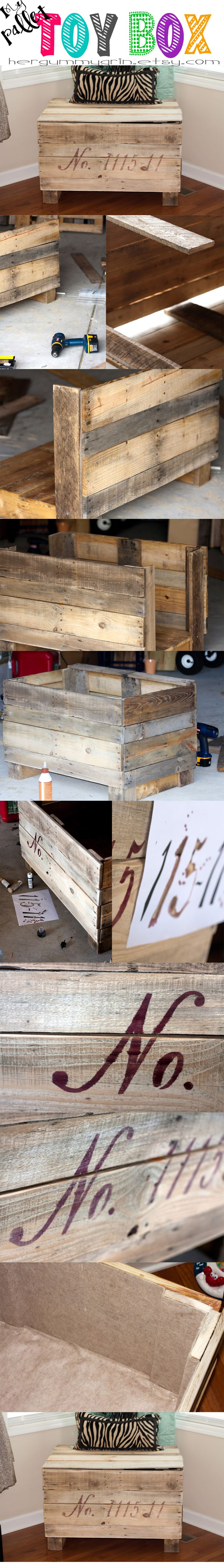 "My Pallet Toy Box - Made from deconstructed pallets. Felt Lined. I made the ""stencil"" & used India Ink to add our daughters birthday on the front then sanded down. In total - UNDER 12 bucks!"