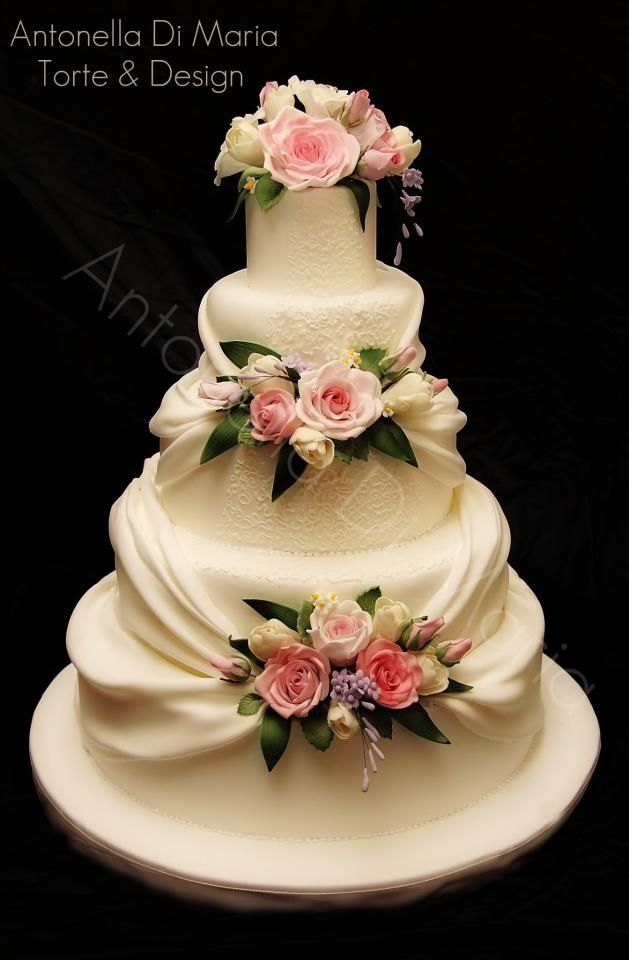 beautiful wedding cakes with roses hydrangea hill cottage ribbons roses ruffles and lace 11232