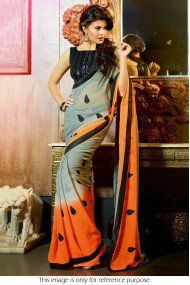 Bollywood Style Jacqueline Fernandez Georgette and Velvet Saree In Grey and Orange Colour NC997