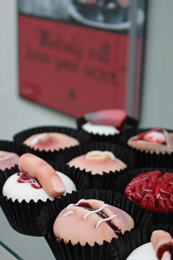 """Wonderfully creepy, insanely wonderful treats. """"SLICE, an edible selection of body parts in cake form by Gillian Bell."""""""