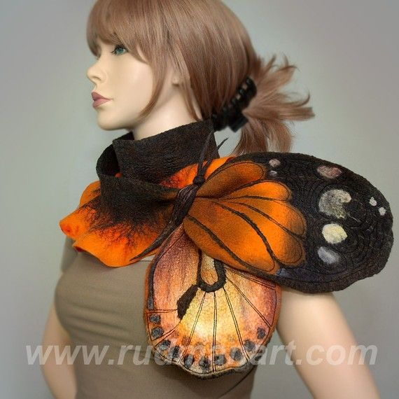Wool Silk Felted Art hand dyed scarf butterflybrooch by RudmanArt