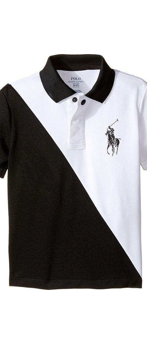 Polo Ralph Lauren Kids Tech Mesh Banner Polo (Toddler) (Pure White) Boy's Short Sleeve Pullover - Polo Ralph Lauren Kids, Tech Mesh Banner Polo (Toddler), 321652610001-100, Apparel Top Short Sleeve Pullover, Short Sleeve Pullover, Top, Apparel, Clothes Clothing, Gift, - Street Fashion And Style Ideas