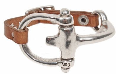 Estribo Real Leather Bracelet | Taupe/Silver | No. 3 | Caracol Jewelry