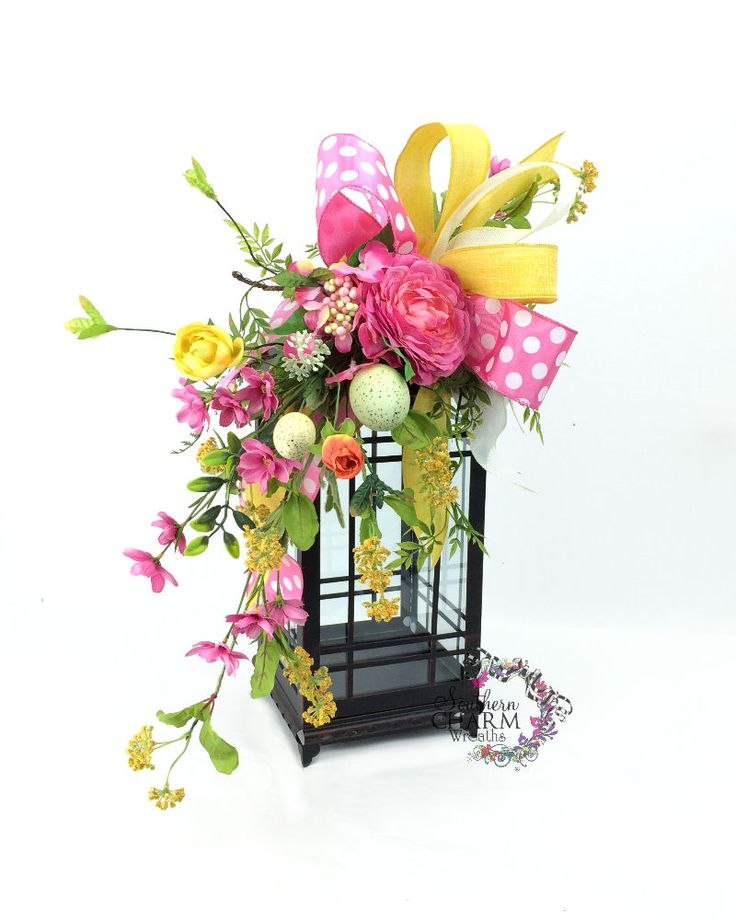 Easter Lantern Swag with Pink Ranunculus Wild Flowers and Eggs, Pink ...